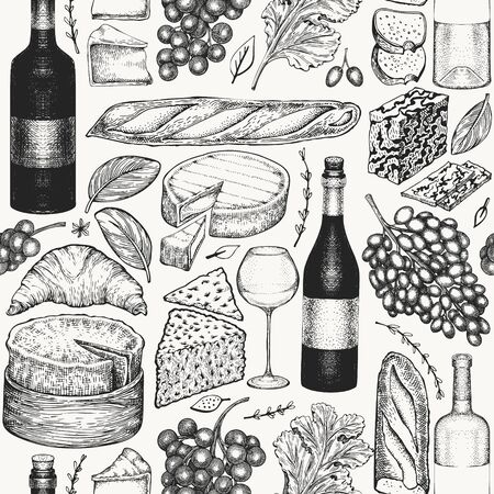 French food illustration seamless pattern. Hand drawn vector picnic meal illustrations. Engraved style different snack and wine design. Retro food background.  イラスト・ベクター素材