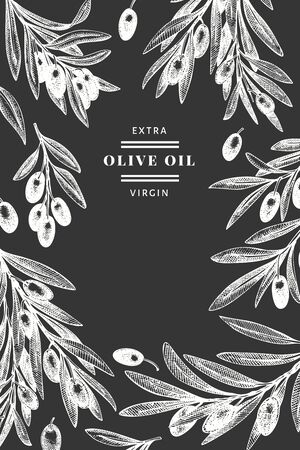 Olive branch design template. Hand drawn vector food illustration on chalk board. Engraved style mediterranean plant. Vintage botanical picture.  イラスト・ベクター素材