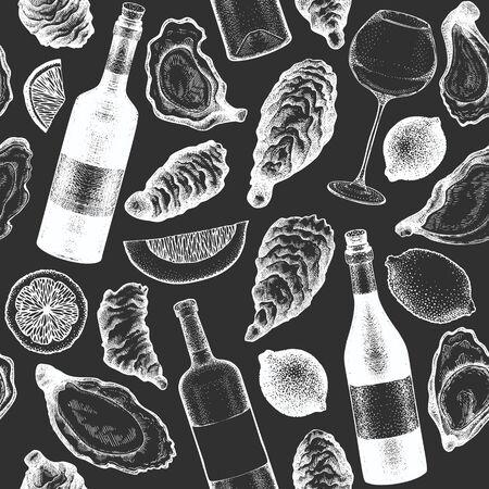 Oysters and wine seamless pattern. Hand drawn vector illustration on chalk board. Seafood background. Can be used for design menu, packaging, recipes, fish market, seafood products.