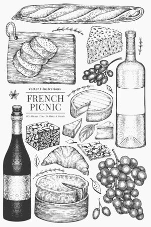 French food illustration set. Hand drawn vector picnic meal illustrations. Engraved style different snack and wine. Retro food background.