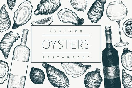 Oysters and wine design template. Hand drawn vector illustration. Seafood banner. Can be used for design menu, packaging, recipes, fish market, seafood products.