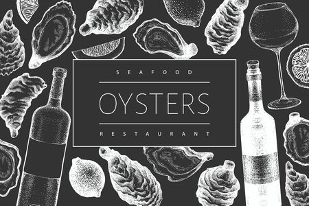 Oysters and wine design template. Hand drawn vector illustration on chalk board. Seafood banner. Can be used for design menu, packaging, recipes, fish market, seafood products.
