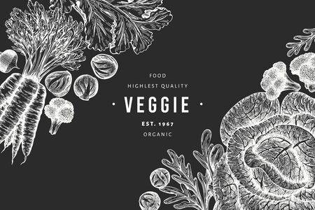 Hand drawn sketch vegetables design. Organic fresh food vector banner template. Vintage vegetable background. Engraved style botanical illustrations on chalk board.