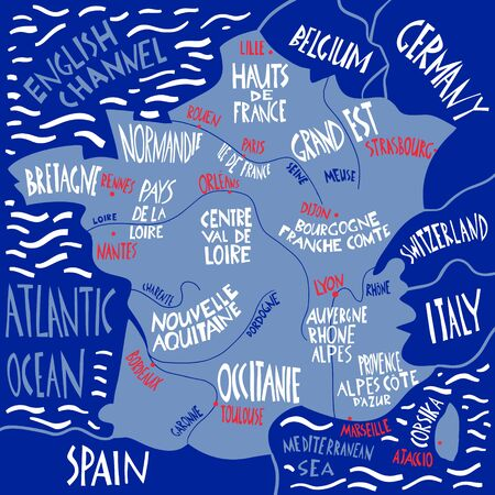 Vector hand drawn stylized map of France. Travel illustration with french regions, cities and rivers names. Hand drawn lettering. Europe map element Ilustração