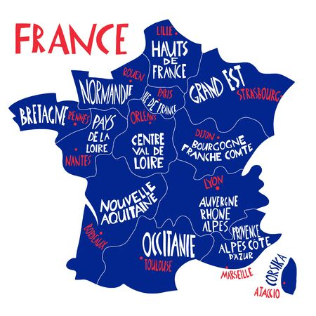 Vector hand drawn stylized map of France. Travel illustration with french regions, cities and rivers names. Hand drawn lettering. Europe map element Ilustrace