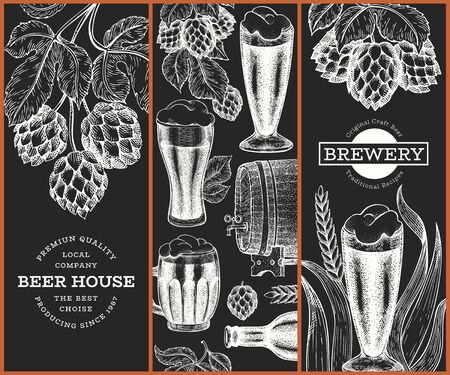 Set of three beer design templates. Hand drawn vector pub beverage illustration on chalk board. Engraved style. Vintage brewery illustration. Stock Illustratie