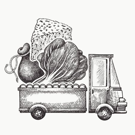 Food shop delivery template. Hand drawn vector truck with vegetables and cheese illustration. Engraved style vintage food design.