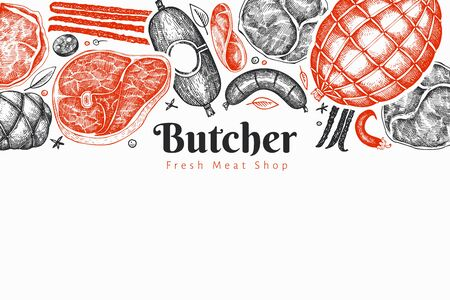 Retro vector meat products design template. Hand drawn ham, sausages, jamon, spices and herbs. Retro illustration. Can be use for restaurant menu. Vettoriali