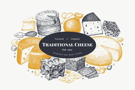 Cheese design template. Hand drawn vector dairy illustration. Engraved style different cheese kinds banner. Retro food background.