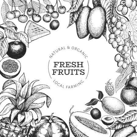 Fruits and berries design template. Hand drawn vector tropic fruits illustration. Engraved style fruit. Retro exotic food banner.