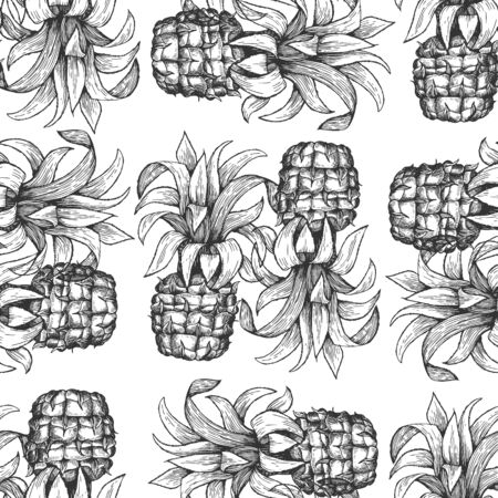 Pineapple seamless pattern. Hand drawn vector tropical fruit illustration. Engraved style ananas fruit. Retro botanical background.