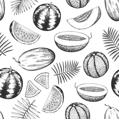 Melons and watermelons with tropical leaves seamless pattern. Hand drawn vector exotic fruit illustration. Engraved style fruit banner. Retro botanical backdrop.