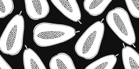 Papaya seamless pattern. Hand drawn vector fruit illustration. Cartoon style design. Cute minimalistic exotic fruits background.