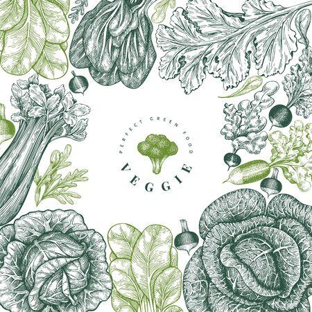 Conception de légumes croquis dessinés à la main. Modèle de bannière de vecteur d'aliments frais biologiques. Fond de légumes rétro. Illustrations botaniques de style gravé. Vecteurs