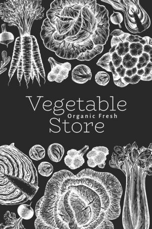 Hand drawn sketch vegetables design. Organic fresh food vector banner template. Retro vegetable background. Engraved style botanical illustrations on chalk board.