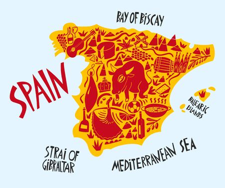 Vector hand drawn stylized map of Spain. Travel illustration of Spain Kingdom landmarks. Hand drawn lettering illustration. Europe map element Иллюстрация