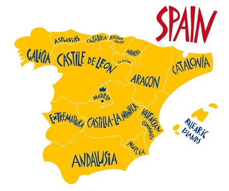 Vector hand drawn stylized map of Spain Kingdom. Travel illustration of Spain provinces. Hand drawn lettering illustration. Europe map element