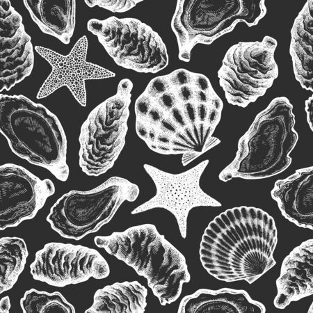 Oysters seamless pattern. Hand drawn vector illustration. Seafood background. Can be used for design menu, packaging, recipes, label, fish market, seafood products. 向量圖像