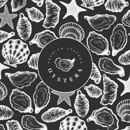 Oysters design template. Hand drawn vector illustration on chalk board. Seafood banner. Can be used for design menu, packaging, recipes, label, fish market, seafood products. 向量圖像