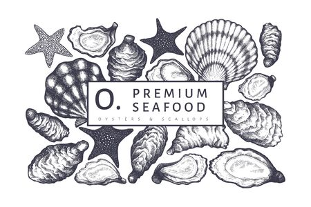 Oysters design template. Hand drawn vector illustration. Seafood banner. Can be used for design menu, packaging, recipes, fish market, seafood products.