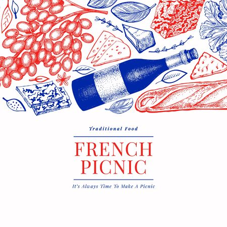 French food illustration design template. Hand drawn vector picnic meal illustrations. Engraved style different snack and wine banner. Vintage food background. Иллюстрация