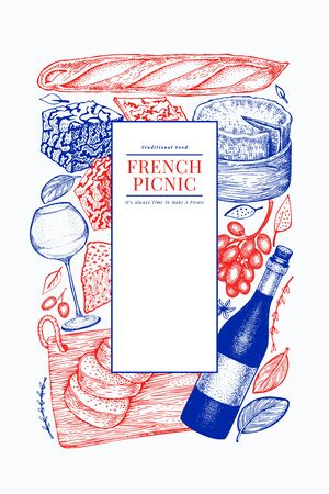 French food illustration design template. Hand drawn vector picnic meal illustrations. Engraved style different snack and wine banner. Vintage food background. Ilustracja