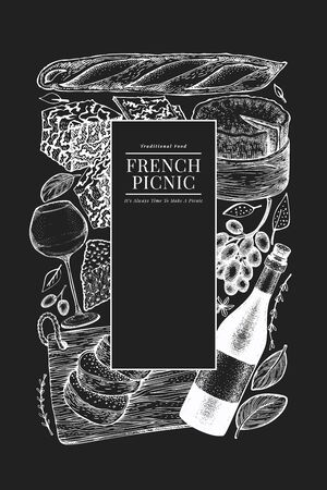 French food illustration design template. Hand drawn vector picnic meal illustrations on chalk board. Engraved style different snack and wine banner. Retro food background.