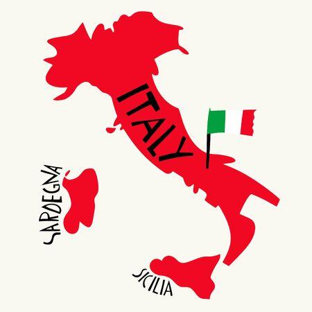 Vector hand drawn stylized map of Italy. Travel illustration of Italian Republic shape. Hand drawn lettering illustration. Europe mediterranean map element Ilustracja