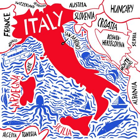 Vector hand drawn stylized map of Italy. Travel illustration of Italian Republic shape and neighboring countries. Hand drawn lettering illustration. Europe mediterranean map element