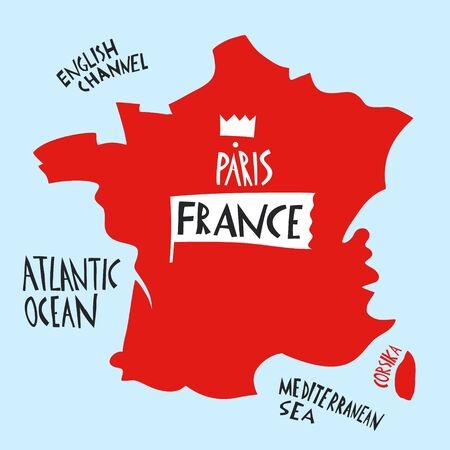 Vector hand drawn stylized map of France. Travel illustration with water names. Geography illustrations