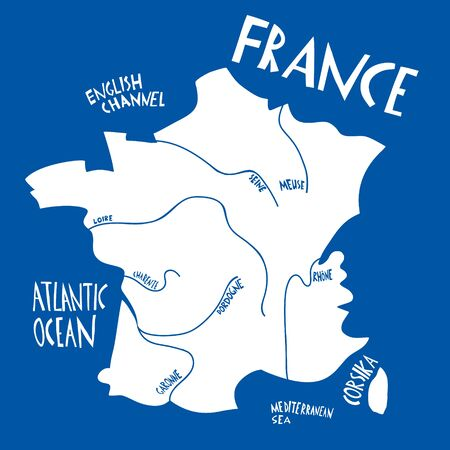 Vector hand drawn stylized map of France. Travel illustration with rivers names. Hand drawn lettering illustration. Europe map element Ilustracja