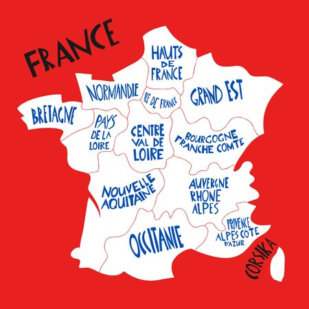 Vector hand drawn stylized map of France. Travel illustration with french regions names. Hand drawn lettering illustrations. Europe map element