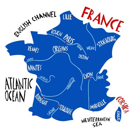 Vector hand drawn stylized map of France. Travel illustration with french cities names. Hand drawn lettering illustrations. Europe map element