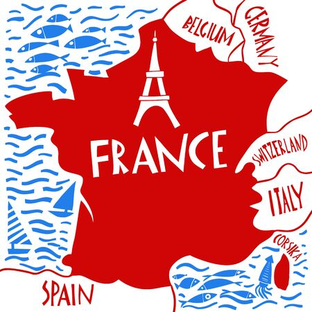 Vector hand drawn stylized map of France. Travel illustration with water and neighboring countries. Geography illustrations