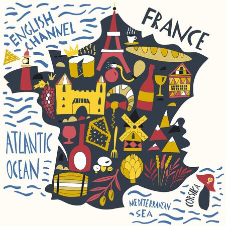 Vector hand drawn stylized map of France. Travel illustration with french landmarks, food and plants. Geography illustrations Ilustracja