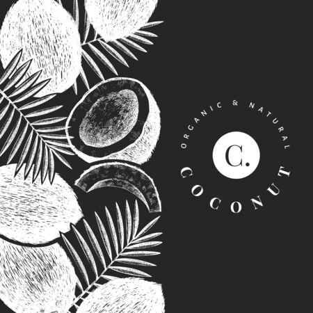 Coconut with palm leaves design template. Hand drawn vector food illustration on chalk board. Engraved style exotic plant. Vector botanical tropical background. Ilustracja