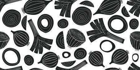 Hand drawn vector leek seamless pattern. Organic cartoon fresh vegetable illustrations. Cute vegetable botanical background. Ilustracja