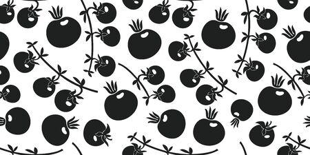Hand drawn vector tomato seamless pattern. Organic cartoon fresh vegetable illustrations. Cute vegetable botanical background.