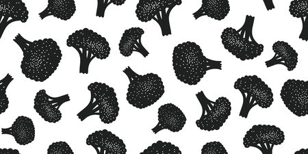 Hand drawn color broccoli seamless pattern. Organic fresh vegetable illustration isolated on white background. Retro vegetable botanical background.