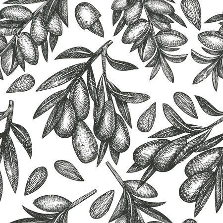 Hand drawn sketch almond seamless pattern. Organic food vector illustration on white background. Vintage nut illustration. Engraved style botanical background.