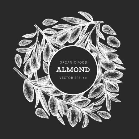 Hand drawn sketch almond design template. Organic food vector illustration on chalk board. Vintage nut illustration. Engraved style botanical background. Ilustracja