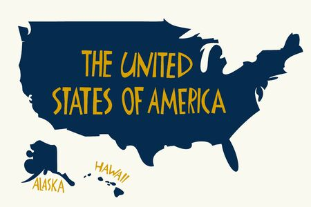 Vector hand drawn stylized map of The United States of America. Travel illustration of USA shape. Hand drawn lettering illustration. North America map element Ilustracja