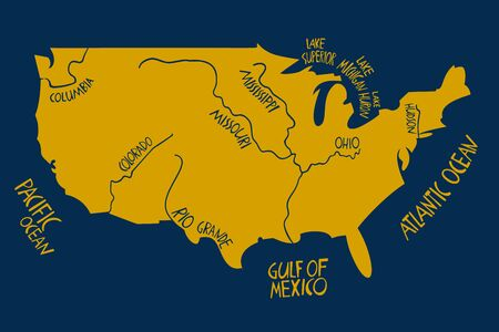 Vector hand drawn stylized map of The United States of America. Travel illustration of USA shape with rivers and waters. Hand drawn lettering illustration. North America map element Ilustracja