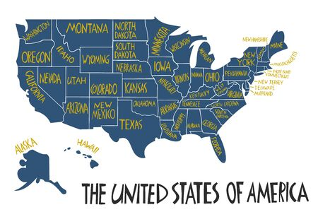 Vector hand drawn stylized map of The United States of America. Travel illustration of USA states. Hand drawn lettering illustration. North America map element