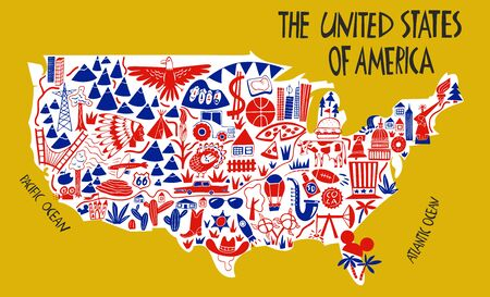 Vector hand drawn stylized map of The United States of America. Travel illustration of USA landmarks. Hand drawn lettering illustration. North America map element