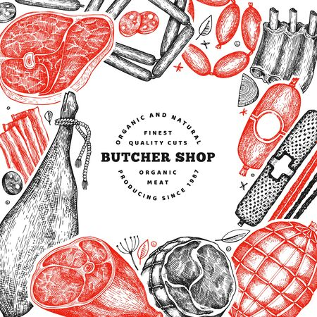 Vintage vector meat products design template. Hand drawn ham, sausages, jamon, spices and herbs. Raw food ingredients. Retro illustration. Can be use for restaurant menu.