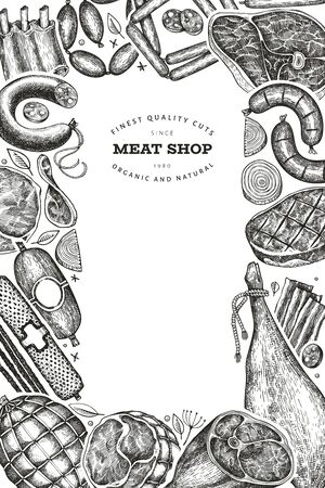 Vintage vector meat products design template. Hand drawn ham, sausages, jamon, spices and herbs. Raw food ingredients. Retro illustration. Can be use for restaurant menu. Фото со стока - 148088809
