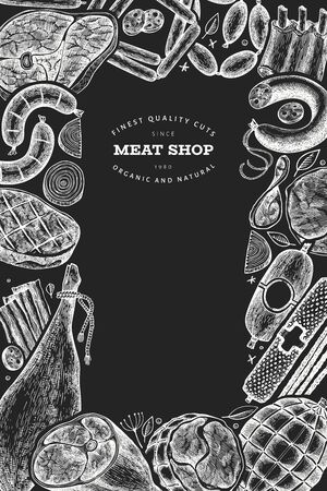 Retro vector meat products design template. Hand drawn ham, sausages, jamon, spices and herbs. Retro illustration on chalk board. Can be use for restaurant menu. Иллюстрация