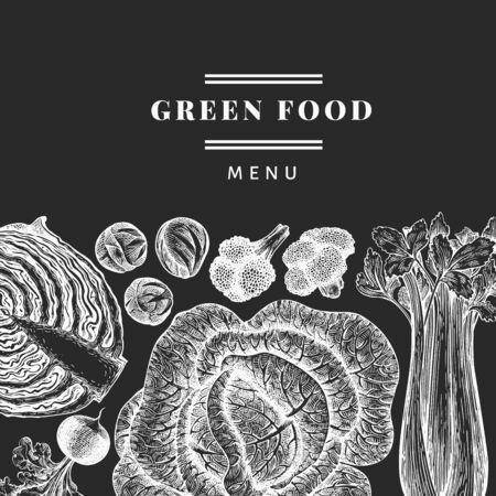 Hand drawn sketch vegetables design. Organic fresh food vector banner template. Vintage vegetable background. Engraved style botanical illustrations on chalk board. Stock Illustratie