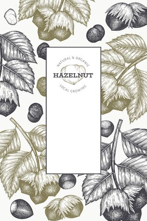 Hand drawn sketch hazelnut design template. Organic food vector illustration on white background. Retro nut illustration. Engraved style botanical background. Vecteurs